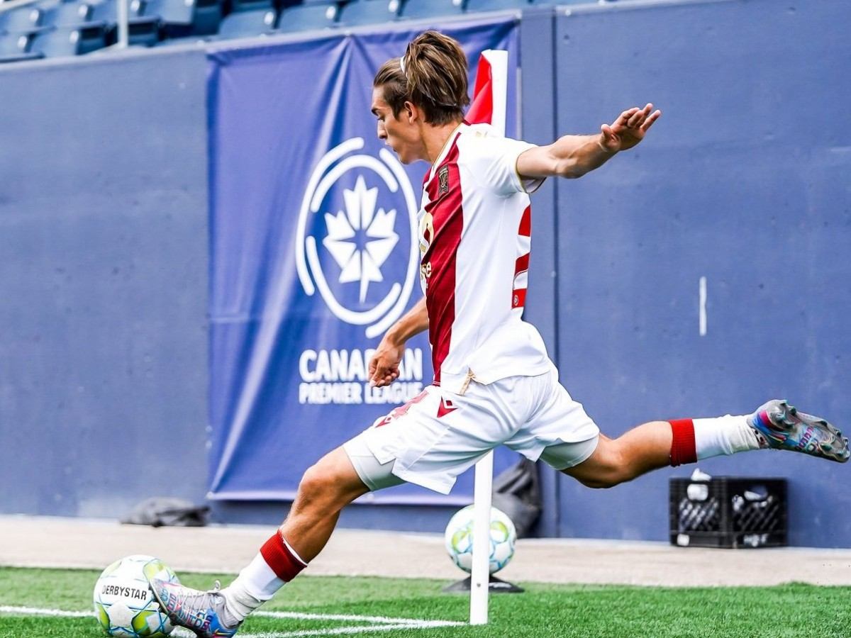 Kicking off recovery in Winnipeg's tourism sector - Sean Rea takes a corner kick in the first half of the game against Forge FC on June 27, 2021. Photo: CPL Robert Reyes/William Ludwick